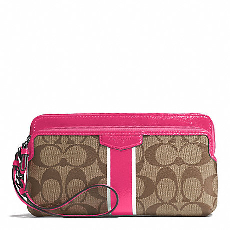 COACH SIGNATURE STRIPE DOUBLE ZIP WALLET - SILVER/KHAKI/POMEGRANATE - f51266