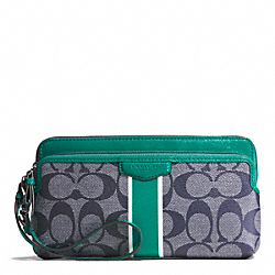 SIGNATURE STRIPE DOUBLE ZIP WALLET - f51266 - SILVER/NAVY/BRIGHT JADE
