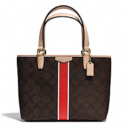 COACH SIGNATURE STRIPE TOP HANDLE TOTE - BRASS/BROWN/VERMILLION - F51267