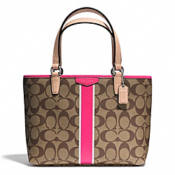 COACH SIGNATURE STRIPE TOP HANDLE TOTE - SILVER/KHAKI/POMEGRANATE - F51267