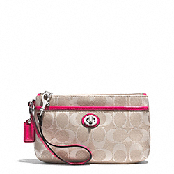 COACH CAMPBELL SIGNATURE TWILL MEDIUM WRISTLET - SILVER/KHAKI/POMEGRANATE - F51277