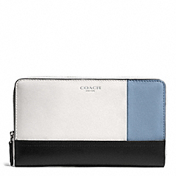 COACH BLEECKER COLORBLOCK CONTINENTAL ZIP WALLET - SILVER/NATURAL/WASHED OXFORD - F51294