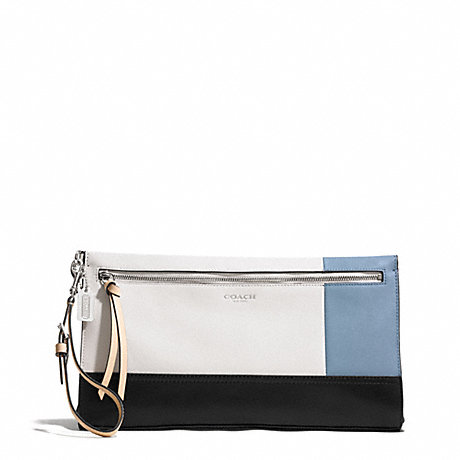 COACH BLEECKER COLORBLOCK LARGE LEATHER CLUTCH - SILVER/NATURAL/WASHED OXFORD - f51304