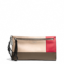 COACH BLEECKER COLORBLOCK LARGE LEATHER CLUTCH - SILVER/NATURAL/LOVE RED - F51304