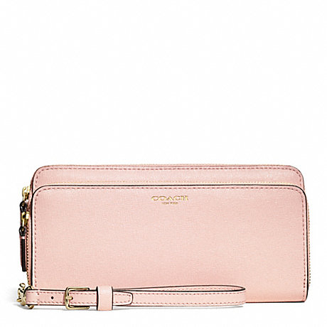 COACH DOUBLE SAFFIANO LEATHER ACCORDION ZIP WALLET - LIGHT GOLD/PEACH ROSE - f51305