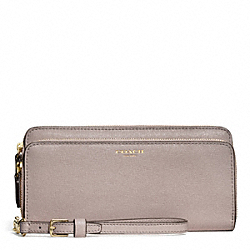 COACH DOUBLE SAFFIANO LEATHER ACCORDION ZIP WALLET - LIGHT GOLD/GREY BIRCH - F51305