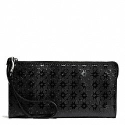COACH WAVERLY SIGNATURE EMBOSSED COATED CANVAS  ZIPPY WALLET - SILVER/BLACK - F51328