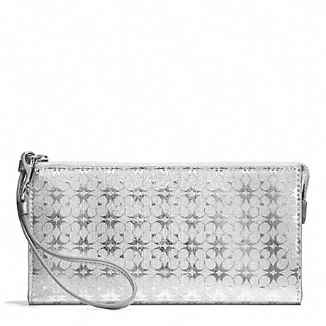 COACH WAVERLY SIGNATURE EMBOSSED COATED CANVAS  ZIPPY WALLET - SILVER/SILVER - f51328