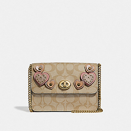 COACH BOWERY CROSSBODY IN SIGNATURE CANVAS WITH HEART APPLIQUE - KHAKI MULTI /IMITATION GOLD - F51332