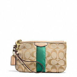 COACH SIGNATURE STRIPE MEDIUM WRISTLET - BRASS/KHAKI/EMERALD - F51346