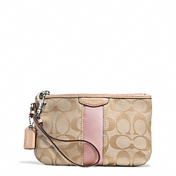 COACH SIGNATURE STRIPE MEDIUM WRISTLET - SILVER/LIGHT KHAKI/SHELL PINK - F51346