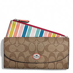 COACH PEYTON MULTISTRIPE SLIM ENVELOPE WALLET WITH POUCH - ONE COLOR - F51351