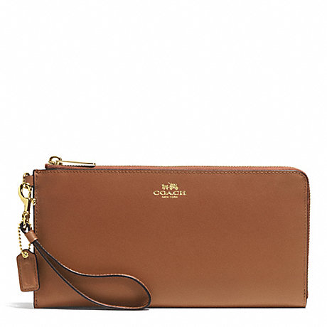 COACH DARCY LEATHER HOLDALL WALLET - BRASS/SADDLE - f51352