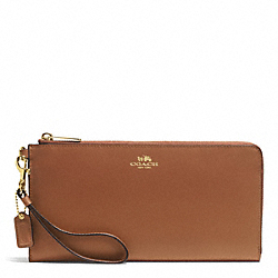DARCY LEATHER HOLDALL WALLET - BRASS/SADDLE - COACH F51352