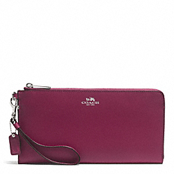 COACH DARCY LEATHER HOLDALL WALLET - SILVER/MERLOT - F51352