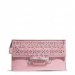 COACH TAYLOR EYELET LEATHER ZIP CLUTCH - SILVER/PINK TULLE - F51385