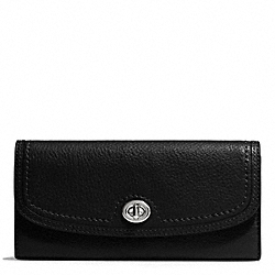 PARK LEATHER TURNLOCK SLIM ENVELOPE WALLET - f51393 - SILVER/BLACK