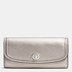 PARK LEATHER TURNLOCK SLIM ENVELOPE WALLET - SILVER/PEWTER - COACH F51393