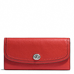 COACH PARK LEATHER TURNLOCK SLIM ENVELOPE WALLET - SILVER/VERMILLION - F51393