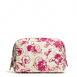 COACH WAVERLY FLORAL COATED CANVAS BOXY COSMETIC CASE - BRASS/PINK RUBY - F51395