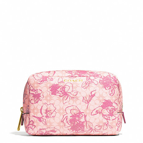COACH WAVERLY FLORAL COATED CANVAS BOXY COSMETIC CASE - BRASS/PINK - f51395