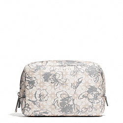 COACH WAVERLY FLORAL COATED CANVAS BOXY COSMETIC CASE - SILVER/WHITE - F51395