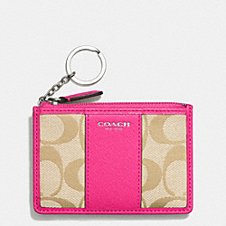 MINI SKINNY IN SIGNATURE FABRIC - SILVER/LIGHT GOLD/ LIGHT KHAKI/PINK RUBY - COACH F51411