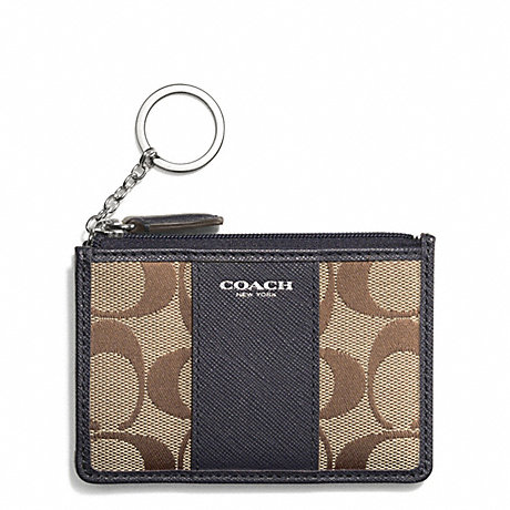 COACH SIGNATURE MINI SKINNY - SILVER/KHAKI/ULTRA NAVY - f51411