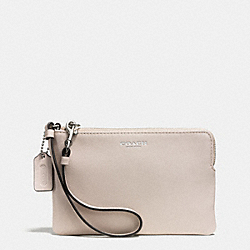 COACH BLEECKER L-ZIP SMALL WRISTLET IN GINGHAM PRINT LEATHER - SILVER/ECRU - F51413