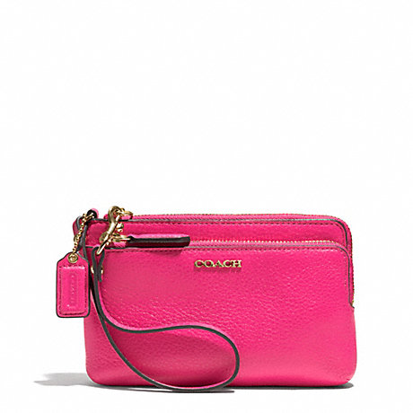 COACH MADISON LEATHER DOUBLE L-ZIP WRISTLET - LIGHT GOLD/PINK RUBY - f51420