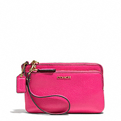 MADISON LEATHER DOUBLE L-ZIP WRISTLET - f51420 - LIGHT GOLD/PINK RUBY