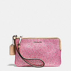 COACH BLEECKER ZIP SMALL WRISTLET IN METALLIC CRACKLE CANVAS - SILVER/NEUTRAL PINK - F51422