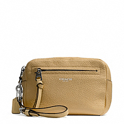 BLEECKER PEBBLED LEATHER FLIGHT WRISTLET - f51427 - SILVER/CAMEL