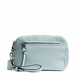 BLEECKER PEBBLED LEATHER FLIGHT WRISTLET - f51427 - SILVER/SEA MIST