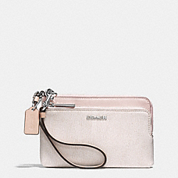 COACH DOUBLE L-ZIP WRISTLET IN COLORBLOCK MIXED LEATHER - SILVER/CAMEL/VACHETTA - F51444