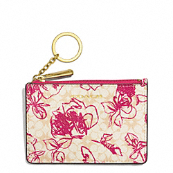COACH WAVERLY COATED CANVAS FLORAL MINI SKINNY - BRASS/PINK RUBY - F51449