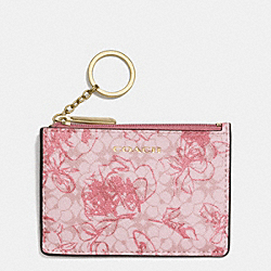 COACH WAVERLY COATED CANVAS FLORAL MINI SKINNY - BRASS/PINK - F51449