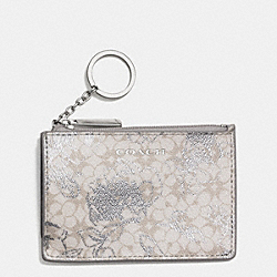 WAVERLY COATED CANVAS FLORAL MINI SKINNY - SILVER/WHITE - COACH F51449