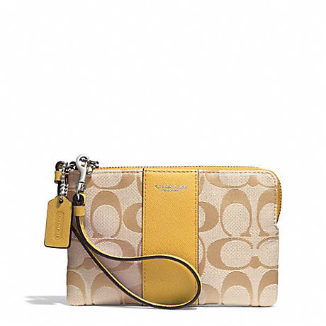 COACH SIGNATURE L-ZIP SMALL WRISTLET - SILVER/LIGHT GOLDGHT KHAKI/SUNGLOW - f51450