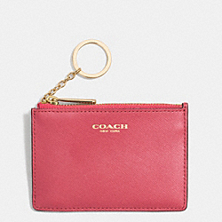 COACH SAFFIANO LEATHER MINI SKINNY - LIGHT GOLD/LOGANBERRY - F51452