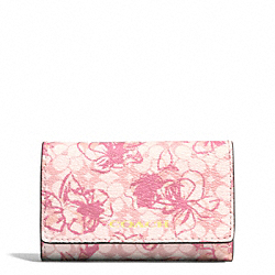 COACH WAVERYL SKETCHY FLORAL 6 RING KEY CASE - BRASS/PINK - F51457