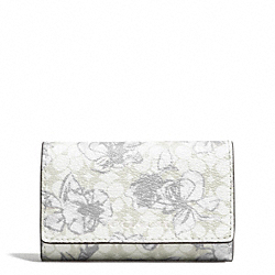 COACH WAVERYL SKETCHY FLORAL 6 RING KEY CASE - SILVER/WHITE - F51457