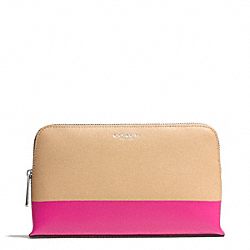 COACH PRINTED TWO TONE MEDIUM COSMETIC CASE IN SAFFIANO LEATHER - SILVER/CAMEL/PINK RUBY - F51458