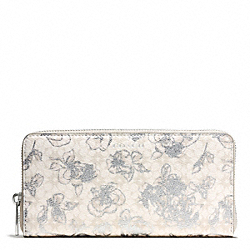 COACH WAVERLY FLORAL COATED CANVAS ACCORDIAN ZIP WALLET - SILVER/WHITE - F51461