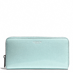 SAFFIANO PATENT ACCORDION ZIP WALLET - f51464 - LIGHT GOLD/SEA MIST