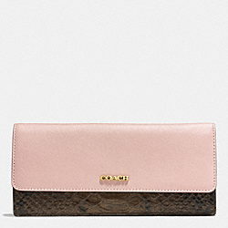 COACH COLORBLOCK MIXED LEATHER SOFT WALLET - LIGHT GOLD/ROSE PETAL - F51475