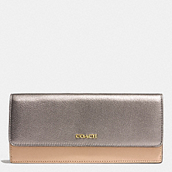 COACH COLORBLOCK MIXED LEATHER SOFT WALLET - LIGHT GOLD/PLATINUM MULTI - F51475