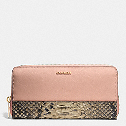 COACH COLORBLOCK MIXED LEATHER ACCORDION ZIP WALLET - LIGHT GOLD/ROSE PETAL - F51478