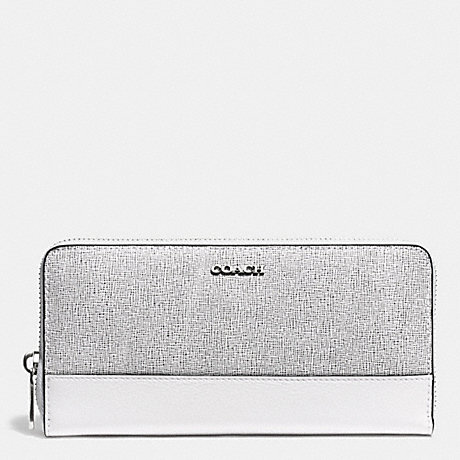 COACH ACCORDION ZIP WALLET IN COLORBLOCK MIXED LEATHER - SILVER/BLACK MULTI - f51478