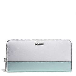 COACH COLORBLOCK MIXED LEATHER ACCORDION ZIP WALLET - SILVER/WHITE MULTICOLOR - F51478